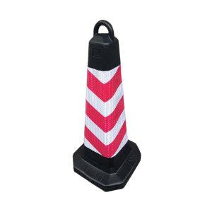ZKH/震坤行 塑料方路锥 70cm高 红白色 底座35×35cm 1个