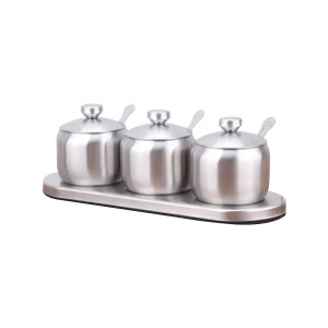 ZKH/震坤行 不锈钢调料盒 不锈钢调料盒 口径74mm 3罐 1套