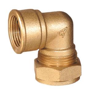 "AMICO/埃美柯 624系列90°内螺纹卡套弯头 DN28 1"" 黄铜 1个"