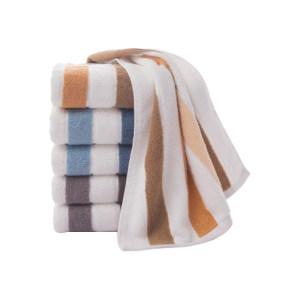 GRACE/洁丽雅 条纹款全棉洗脸毛巾 6697 760×340mm 兰色/紫色/棕色随机发货 110g 1个