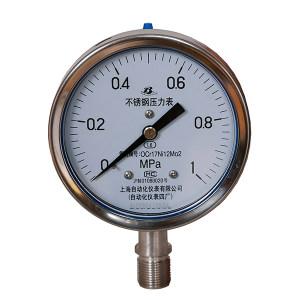 SZY/上自仪 不锈钢压力表(304) Y-100BF/0~0.1MPa/M20×1.5/1.6级 1个