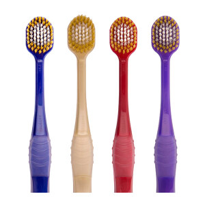 EBISU/惠百施 7列65孔舒适倍护宽头牙刷 B-8011S  软毛 红色/金色/蓝色/紫色随机发货 1支