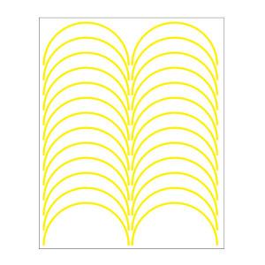 SHUPEI/舒沛 压力表反光圆弧贴 压力表反光圆弧贴 黄色 宽3mm 外径100mm 弧长157mm 半圆弧 国产聚苯乙烯材质 24条 1张