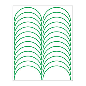 SHUPEI/舒沛 压力表反光圆弧贴 压力表反光圆弧贴 绿色 宽3mm 外径100mm 弧长157mm 半圆弧 国产聚苯乙烯材质 24条 1张