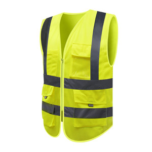 ABS/安博世 多口袋网布款反光背心 SVM-1010 M 荧光黄 1件