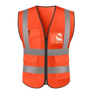 ABS/安博世 经济款多口袋反光背心 SVM-1047 XL 荧光橙 1件