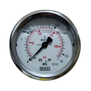 WIKA/威卡 压力表 EN837-1  半钢 螺纹G1/4 轴向安装 量程0~1.6MPa  1个