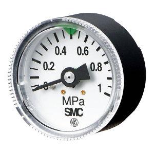 SMC G46系列一般用压力表(带限位指示器) G46-10-02 压力范围0~1MPa 标准式 表盘外径42.5mm 接口R1/4 1个