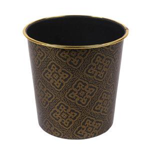 GC/国产 塑料垃圾桶 直径245mm 高260mm 约10L 黑色 金边四角花 1件