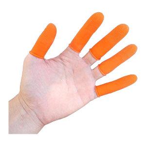 FUXING/伏兴 加厚耐磨防滑乳胶劳保手指套 FX561 M 橘色麻点 100只 1袋