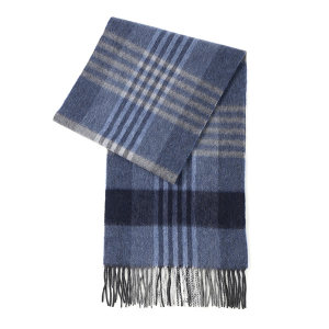 HYX/恒源祥 羊绒围巾 HYX025WJ 300×1800mm 90%羊绒+10%羊毛 蓝灰格 1条