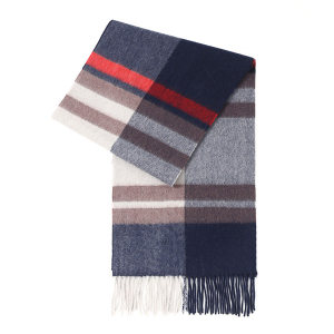 HYX/恒源祥 羊绒围巾 HYX026WJ 300×1800mm 90%羊绒+10%羊毛 红蓝条纹 1条