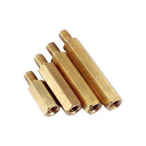 MWO/镁沃 六角间隔柱 阴阳 黄铜 本色 M3×55+6 100个 1盒