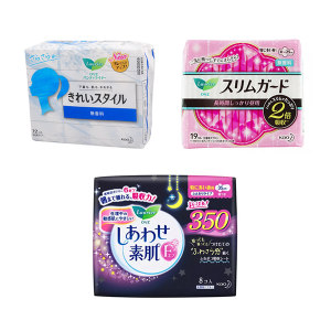 KAO/花王 卫生巾350mm×8片F+卫生巾250mm×19片S+护垫无香140mm×72片 卫生巾三件套 1套