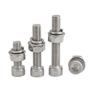 ZKH/震坤行 内六角螺栓套件 不锈钢316L A4L-80 本色 全牙 M8×30 配平垫×1+弹垫×1+螺母×1 1套