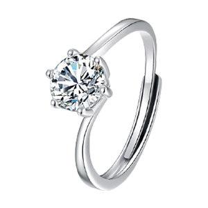 Q.ANNA/乔安娜 扭臂六爪(天使之吻)S925银镶莫桑石女戒指 QAN001 1ct 1个