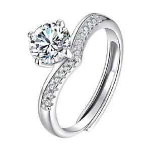 Q.ANNA/乔安娜 公主皇冠S925银镶莫桑石女戒指 QAN003 1ct 1个