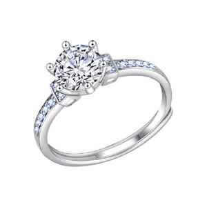 Q.ANNA/乔安娜 唯爱戒指S925银镶莫桑石女戒指 QAN005 1ct 1个