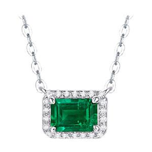 Q.ANNA/乔安娜 祖母绿方形套链S925银镶人工合成祖母绿套链 QAN010 1条