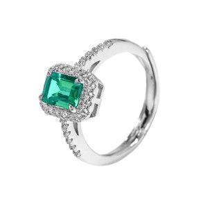 Q.ANNA/乔安娜 祖母绿方形戒指S925银镶人工合成祖母绿戒指 QAN011 1个