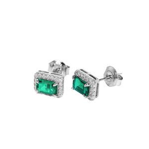Q.ANNA/乔安娜 祖母绿方形耳钉S925银镶人工合成祖母绿耳钉 QAN012 1对