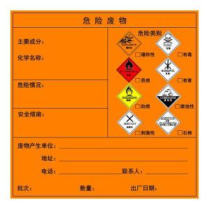 GOSIM/国新 危险废物警示贴 GX-21051407H 20×20cm 1张