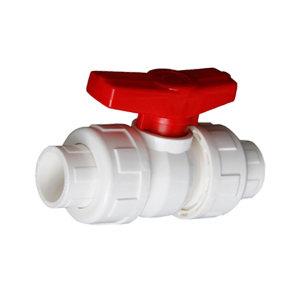 ZW PVC-U给水双活接球阀 PVC-U 75mm 压力10bar 白色 1个
