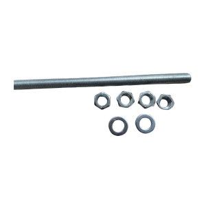 ZKH/震坤行 牙条 合金钢40CrMo 8.8级 镀锌 M16×1100 配2平垫4螺母 1套
