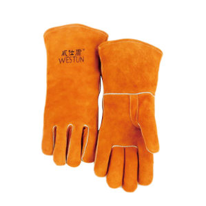 WESTUN/威仕盾 橙红色直指焊接手套 G-0392 均码 35cm 1副