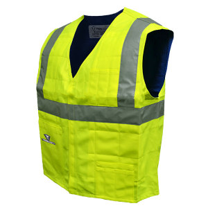 TECHNICHE 安全反光蒸发冷却降温背心 6538 S 高能见度黄色 带反光条 1件