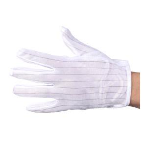 LINGTECH/凌致 点塑防静电止滑手套 LZ03003 L 白色条纹 1包
