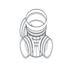 ZHONGCAI PIPES/中财管道 塑料三通检查井 OD450 接DN300管道 DN300 PVC 1个