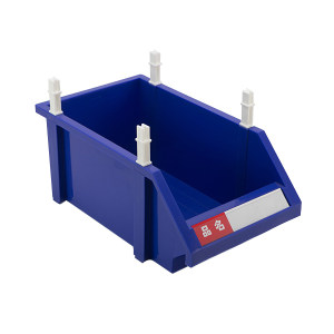 HQ/环球 普通型组立零件盒 TSL3520A 外尺寸355×200×145mm 内尺寸295×170×140mm 蓝色(含1张标签纸 1个透明标签盖 4根立柱) 1个