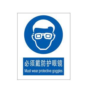 SAFEWARE/安赛瑞 GB安全标识(必须戴防护眼镜) 31002 250*315mm 1.5mm厚ABS工程塑料板 1张