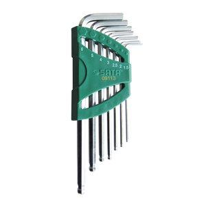SATA/世达 公制加长球头内六角扳手组套 SATA-09113 7件 1.5-6mmSVCM+钢(塑架) 1套