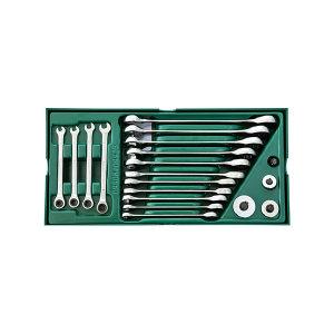 SATA/世达 工具托-全抛光两用快扳组套 SATA-09908 19件 375×185×45mm(塑托盘) 1套