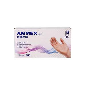 AMMEX/爱马斯 一次性无粉透明PVC手套 GPX3C44100 M 无粉光面 1盒