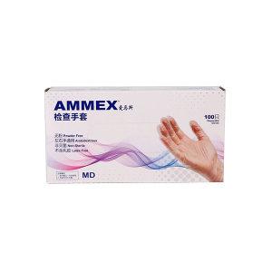 AMMEX/爱马斯 一次性无粉透明PVC手套 GPX3C46100 L 无粉光面 1盒