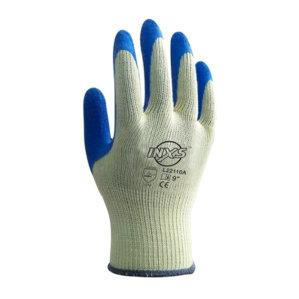 INXS/赛立特 涤棉乳胶涂掌工作手套 L22110A 9码 蓝色 1打