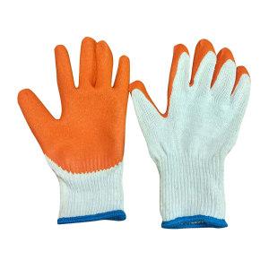 XINGYU/星宇 十针A粗涤纱乳胶皱纹手套 L207 L(均码) 橘色涂层 1副
