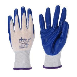 XINGYU/星宇 十三针白尼龙丁腈涂掌手套 N518 M(均码) 蓝色涂层 1副