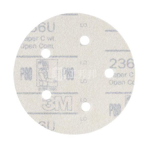 "3M 236U背绒砂碟(黄砂) 3M-R-236U-5I5H-180 180# 5"" 5孔 100张 1盒"