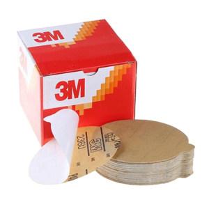 """3M 236U背胶砂碟(黄砂) 3M-J-236U-5I0H-180 180# 5"""" 无孔 100张 1盒"""