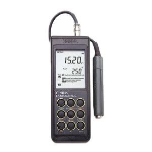 HANNA/哈纳 便携式微电脑EC-TDS-盐度-°C测定仪 HI9835 0.00~29.99μS/cm/30.0~299.9μS/cm/300~2999μS/cm/3.00~29.99mS/cm           30.0~200.0mS/cm/up~500mS/cm/0.00~14.99/15.0~149.9/150~1499mg/L(PPM)/1.50~14.99/15.0~100.0g/L/0.0~400.0%NaCI/-20.0~120.0℃/-4.0~248.0°F 1台