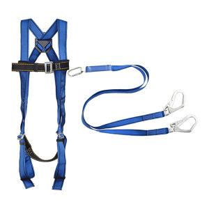 AEGLE/羿科 蓝色聚酯全身式安全带套装 60816717+60816720(PN01+PN3611) 配双大钩缓冲绳 1套