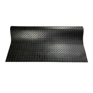 ECOBOOTHS/爱柯部落 坦瑞耐磨防滑钢花纹橡胶走道垫 1002 黑色 75*85cm 3mm厚 钢花纹 1片