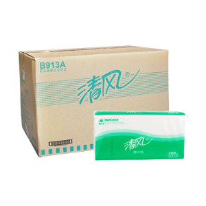BREEZE/清风 单层三折擦手纸 B913A 230×225mm 200抽×20包 1箱