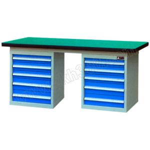 ZKH/震坤行 双侧柜重型工作桌B型 QH03342铁板G 2100×750×800mm 3×100 2×150 1张