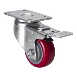 EDL/易得力 镀锌3寸平顶刹车高强度聚氨酯TPU脚轮 50123L-503-86 载重150kg 底板规格95×64mm 安装高度108mm 1只