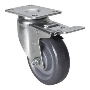 EDL/易得力 镀锌4寸平顶刹车聚氨酯PU脚轮 50124L-504-75 载重130kg 底板规格95×64mm 安装高度133mm 1只